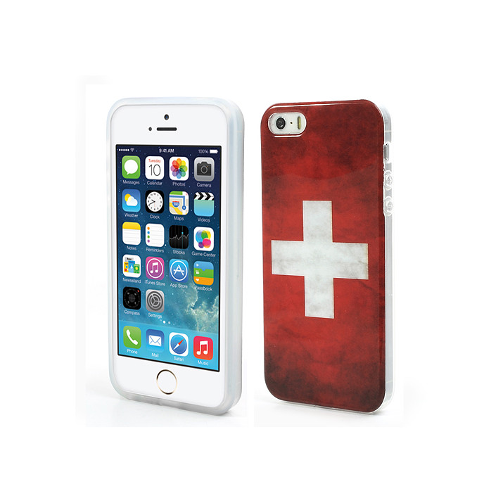 Coque de protection iPhone 5/5S motif Drapeau SUISSE Vintage