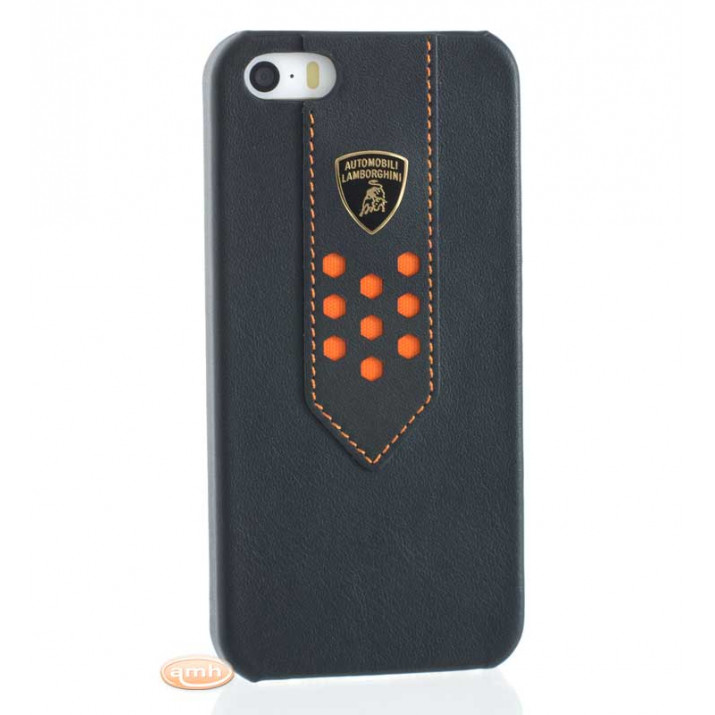 Lamborghini Superleggera-D2 COQUE en cuir iPhone 5/5S Noir-Orange