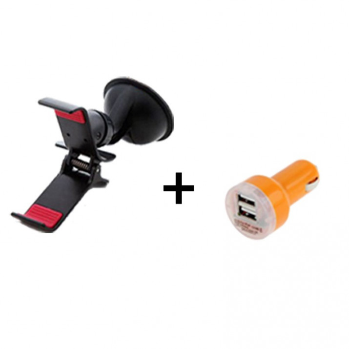 Pack Support Universel voiture Smartphone Pince + Adaptateur chargeur voiture 2A Orange