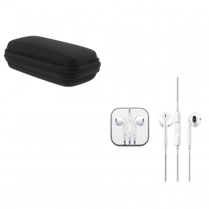 Ecouteurs Earpod APPLE MD827ZM/A d'Origine + Pochette de protection Noire Rectangle