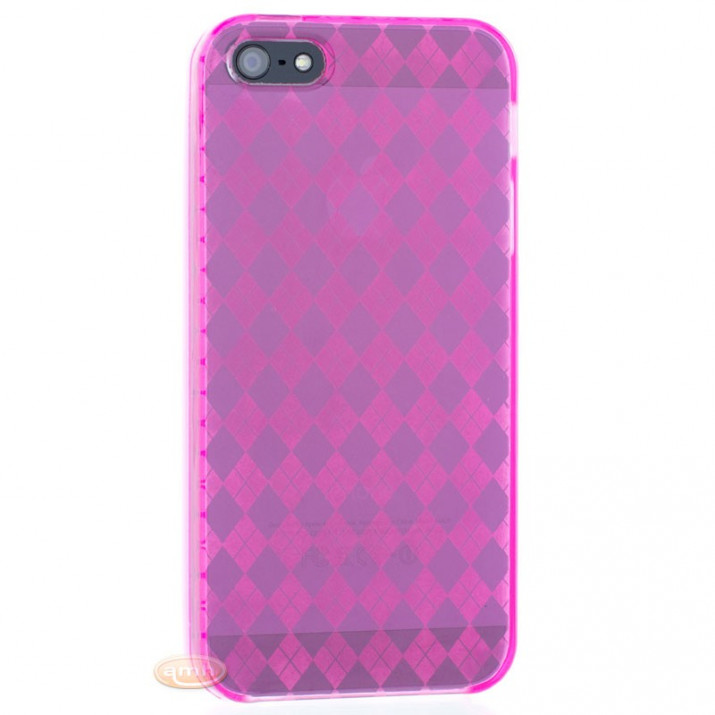 Coque iPhone 5 violette croisillions