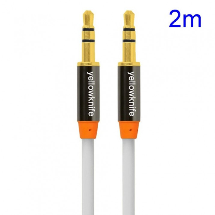 Cable Double Jack 3.5 mm Longueur 2m BLANC Male/Male Connecteur Audio
